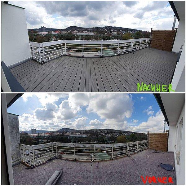 Balkonsanierung vorher nachher Holzdielen Wuppertal